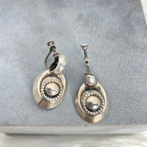 Vintage Silver Tone Screw Back Earrings